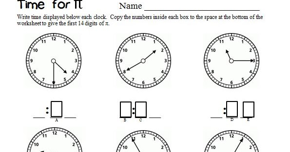 Pieces By Polly Time For Pi Second Grade Math Worksheet