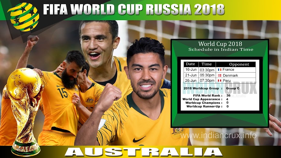 Australia Team Schedule (Downloadable) at 2018 FIFA World Cup