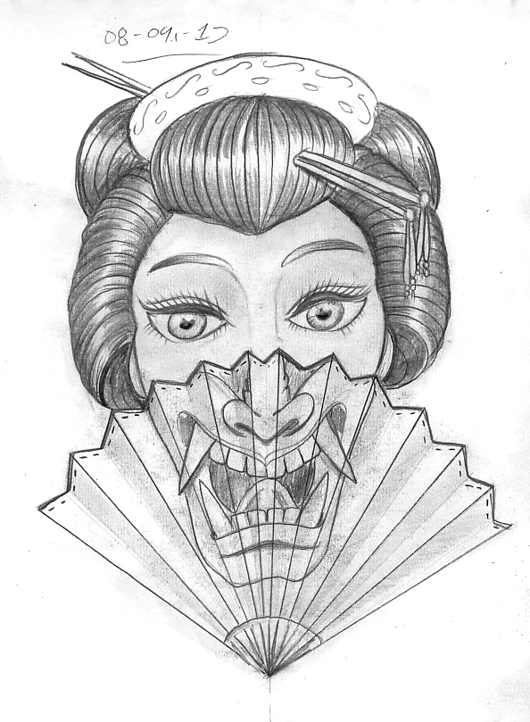 c3b7a68ece04f Tattoo Sketch A Day: Japanese Masks September 8th - 14th