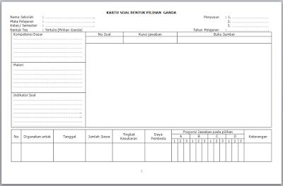 Format Kartu Uraian Kurikulum 2013
