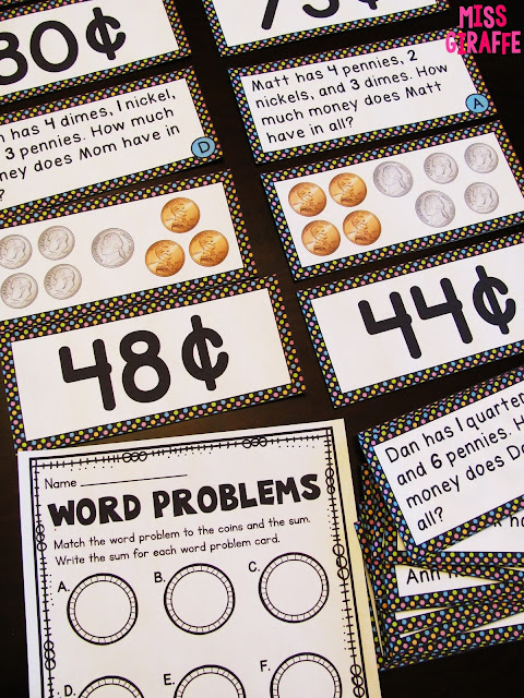 Money word problems math centers and activities