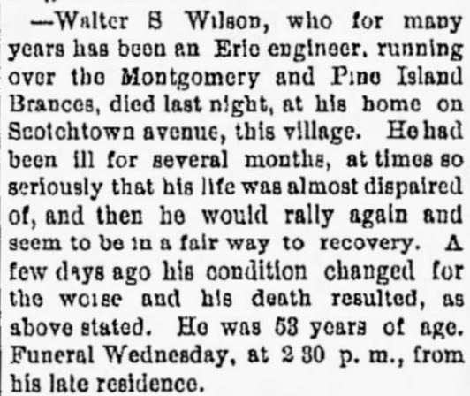 Walter S. Wilson Obituary, Middletown Daily Press, Middletown, NY May 15, 1893