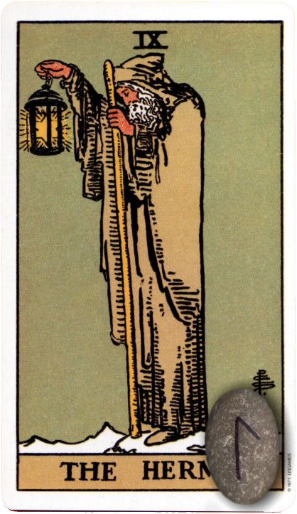 Original Rider Waite Tarot The Hermit, Runes, Laguz