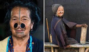 Donne di tribù indiana con naso deformato per non essere rapite