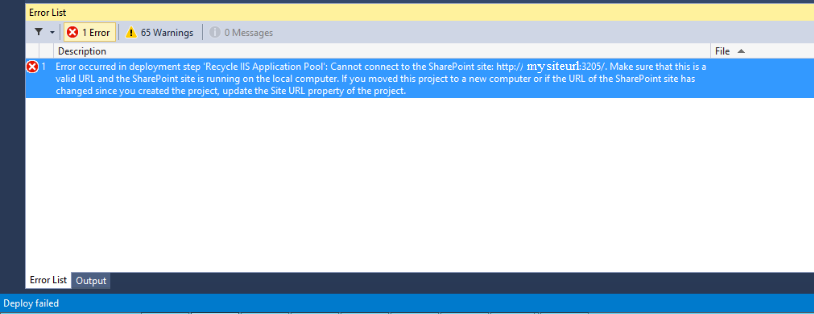 Error in deployment step 'Recycle IIS Application Pool