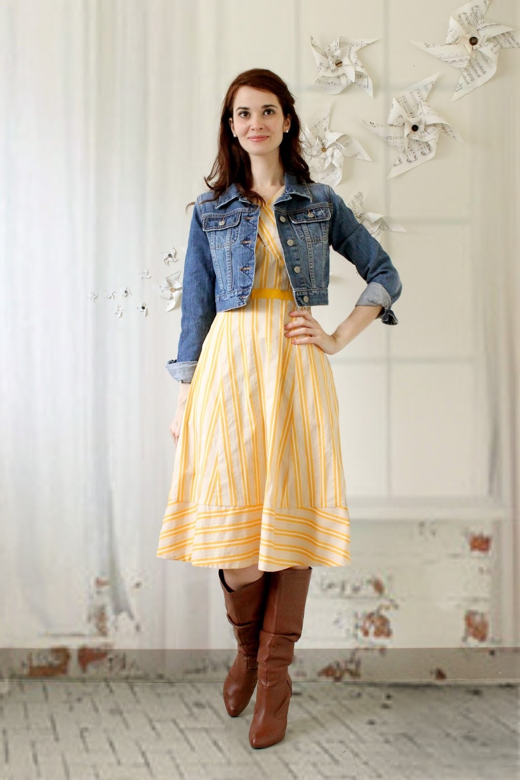 d7fee1ec6e Jacket is old and from Old Navy Boots are from ShoeDazzle. Dress is by  Anthropologie purchased from ThredUp. Use this link to save $20 off your  first ...