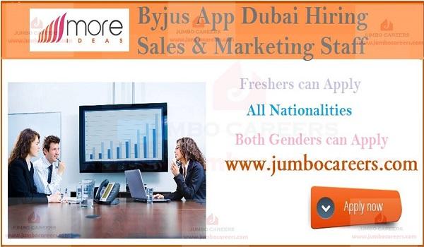 Byjus App Hiring Freshers for Dubai | More Ideas Jobs Careers UAE