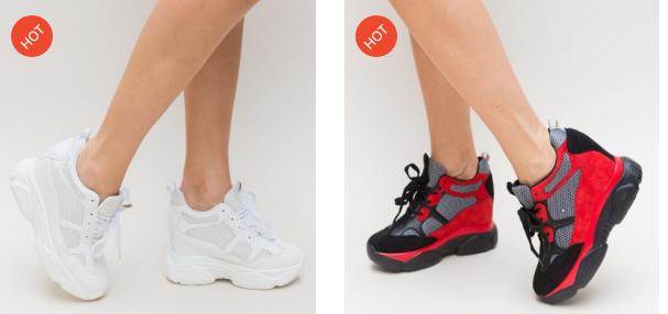 Pantofi sport dama cu talpa inalta din piele eco intoarsa albi, rosii in tendinte