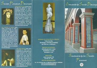 Santos, no Panfleto do Convento de Santo Domingo de Lima