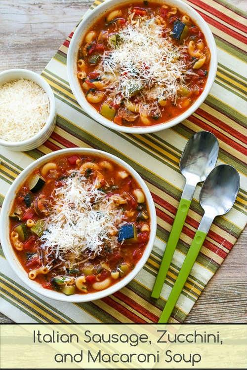 Italian Sausage, Zucchini, and Macaroni Soup Recipe - Recipes