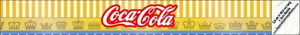 Etiqueta para personalizar botella de agua  de Corona Dorada en Azul y Amarillo.