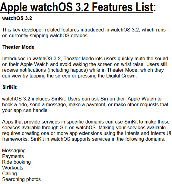Apple watchOS 3.2 Features
