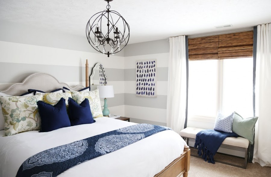 navy blue accents guest room
