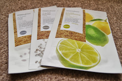 Korean/Asian skincare haul review brands innisfree rice adlay lemonlime sheet masks korean korea