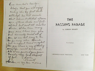 Climbing My Family Tree: Photocopy of The Passing Parade by Gordon Bennett cover, with inscription to my grandmother, sent me by my Aunt