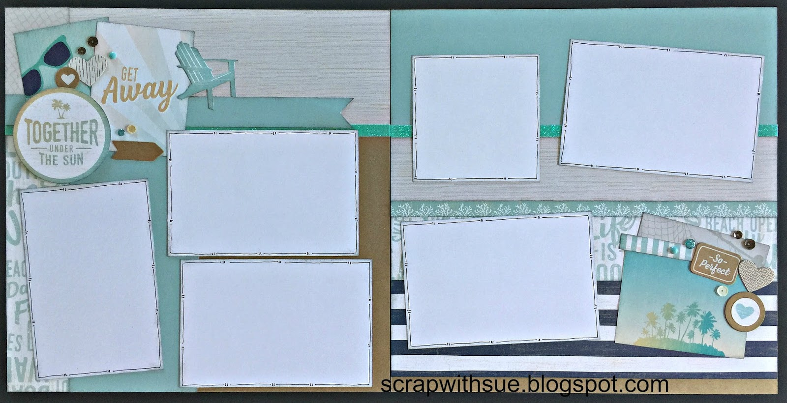 scrap with sue june workshop no worries beach layouts. Black Bedroom Furniture Sets. Home Design Ideas