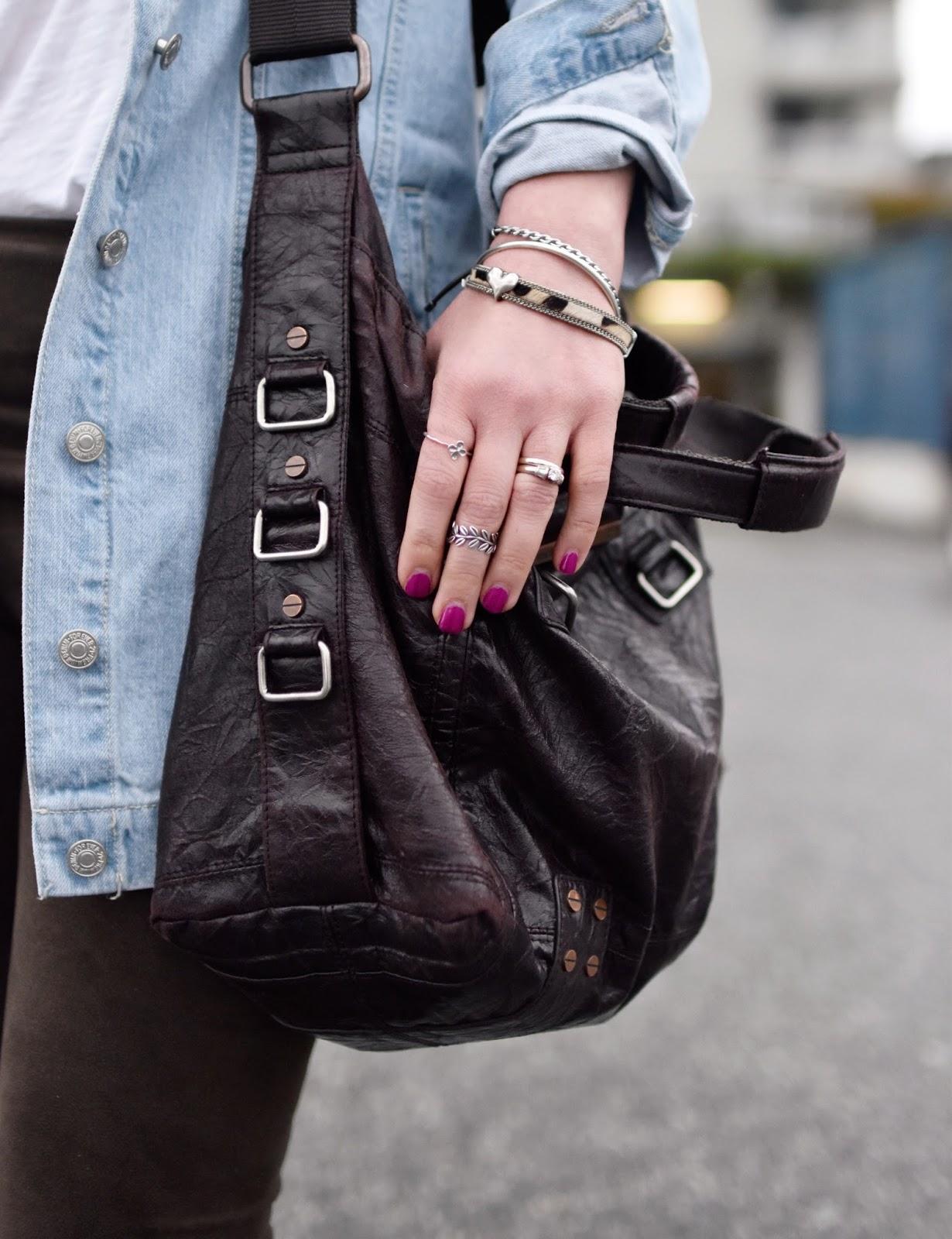 Monika Faulkner outfit inspiration - Forever 21 oversized denim jacket, matt & nat bag