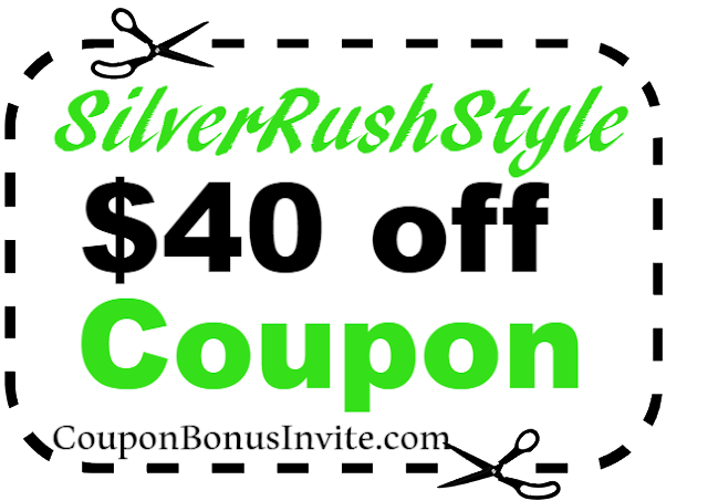 $40 off SilverRushStyle Coupon Code 2018 Jan, Feb, March, April, May, June, July