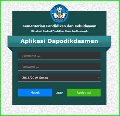laman utama login aplikasi dapodik versi 2019 c