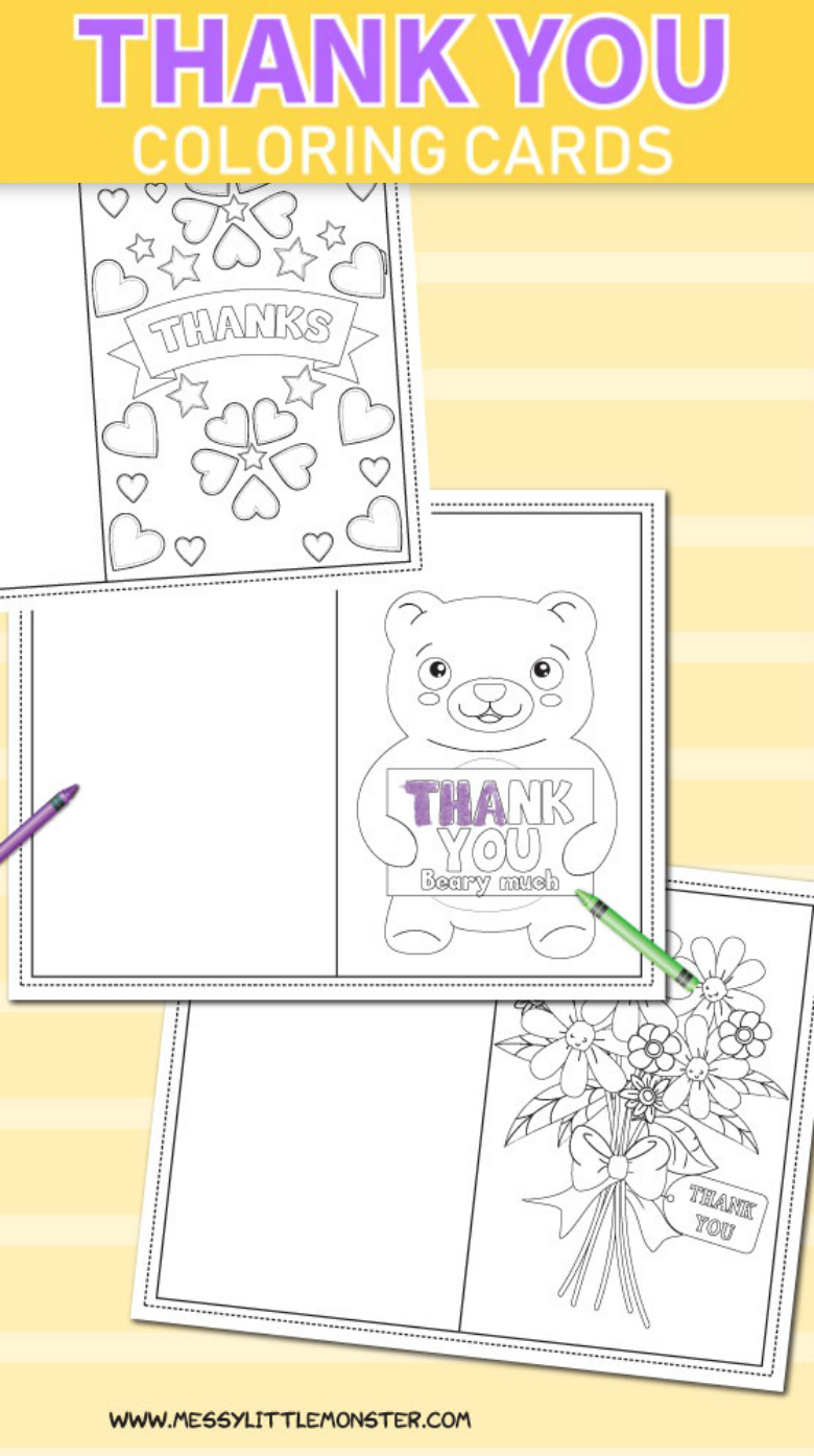 graphic relating to Free Printable Thank You Cards for Students named Printable Colouring Thank By yourself Playing cards for Little ones - Messy Tiny