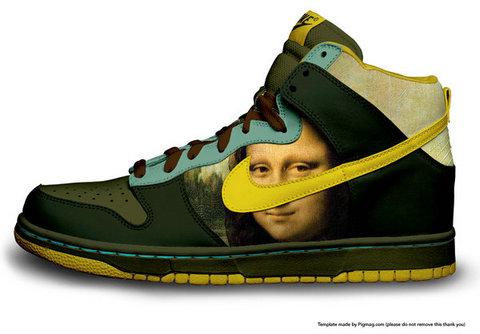 uk availability 5ac40 b2b01 Mona Lisa Face Pattern Nike Dunk SB High Top Shoes