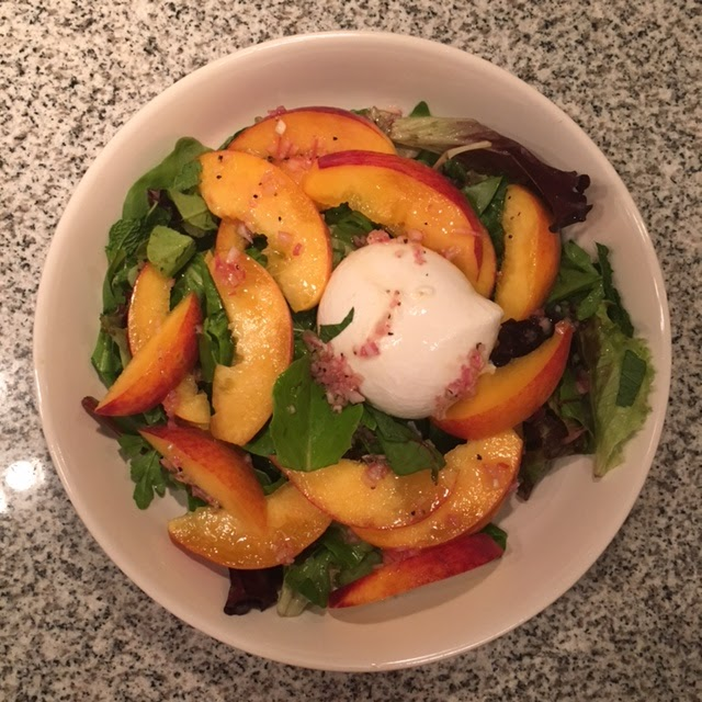 Foodie Friends Test Kitchen More Recipe Burrata Salad With Peaches Pickled Pepper And Pea Tendrils