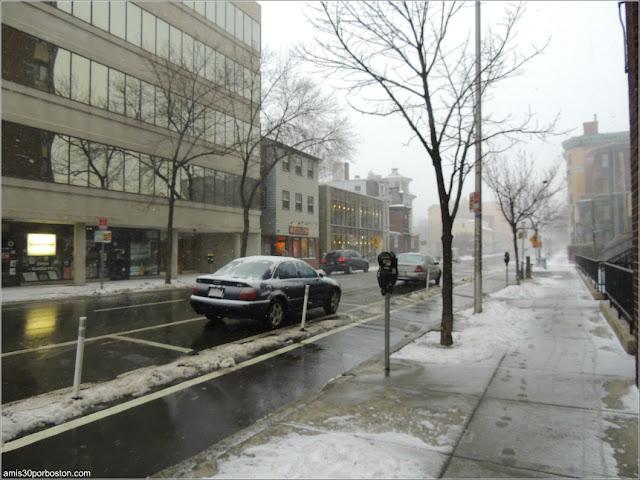 Cerca de Harvard Square, Cambridge durante la Tormenta Greyson