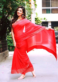 Bidya Sinha Saha Mim In Red Saree Wallpapers