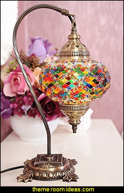 Mosaic Table Lamp  I Dream of Jeannie theme bedrooms - Moroccan style decorating - Jeannie bedroom harem style - Arabian Nights theme bedrooms - bed canopy - Moroccan stencils - I dream of Jeannie bottle - satin bedding - throw pillows - Moroccan furniture