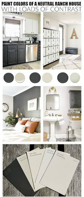 Paint colors of a neutral ranch house with loads of contrast