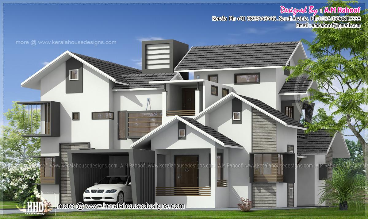4 bedroom modern contemporary mix house exterior kerala for 4 bedroom house exterior design