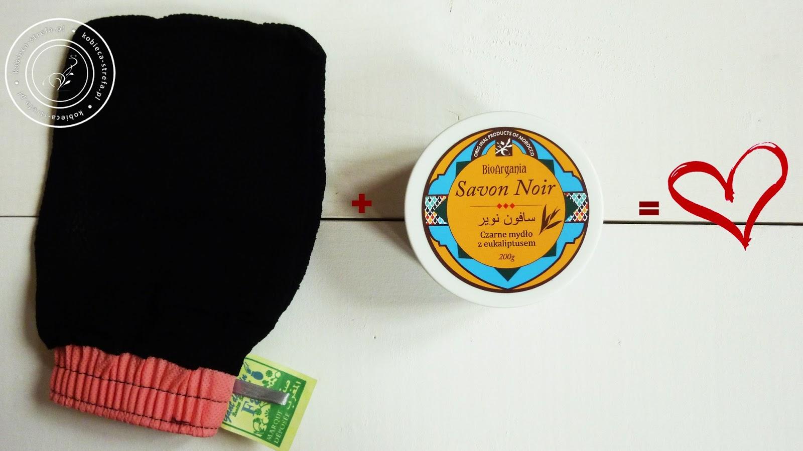 Czarne mydło z eukaliptusem i rękawica kessa czyli duet idealny