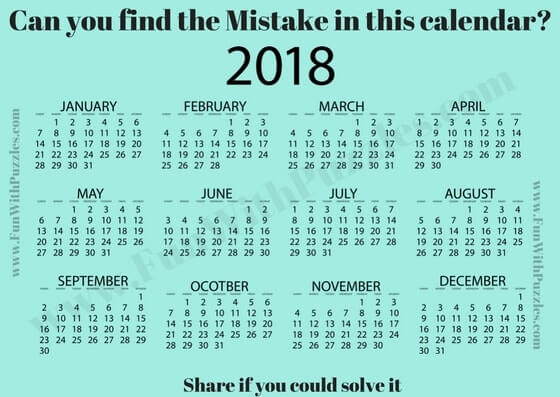 Mistake Puzzle Picture of Calendar