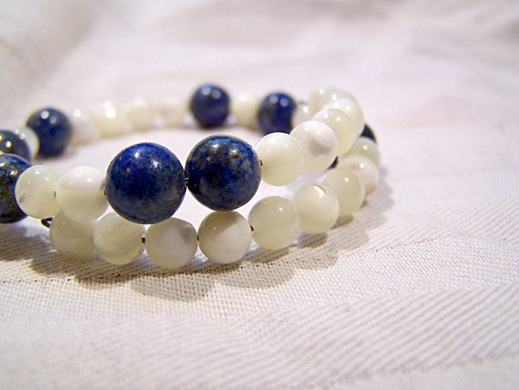 avogadro's number chemistry bracelet in lapis and mother of pearl