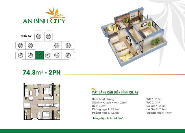 Mặt bằng căn hộ A2 An Bình City