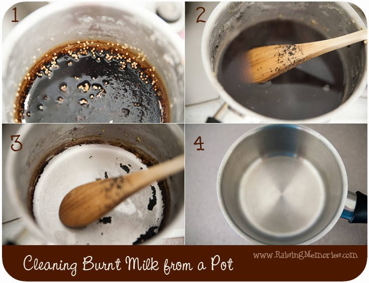 Get Burnt Milk Off your Pot - Cleaning Tip by www.RaisingMemories.com
