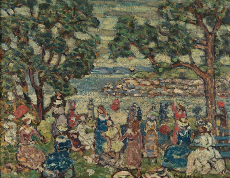 MAURICE B. PRENDERGAST (1859-1924), PROMENADE, C. 1915-18. OIL ON CANVAS, 24 X 31 IN. PENNSYLVANIA ACADEMY OF THE FINE ARTS, PHILADELPHIA, THE VIVIAN O. AND MEYER P. POTAMKIN COLLECTION, BEQUEST OF VIVIAN O. POTAMKIN, 2003.1.9