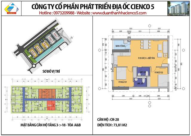 Mặt bằng căn hộ CH28 tầng 3-18 tòa HH02A&B
