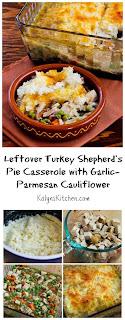 Leftover Turkey (or chicken) Shepherd's Pie with Garlic-Parmesan Cauliflower Topping [found on KalynsKitchen.com]