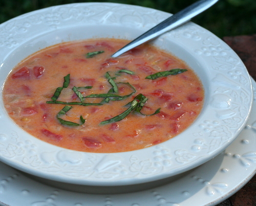 Summer's Tomato Soup, another fresh & seasonal summer soup ♥ KitchenParade.com, beautiful color, made with summer's best fresh tomatoes. Looks simple, tastes complex.