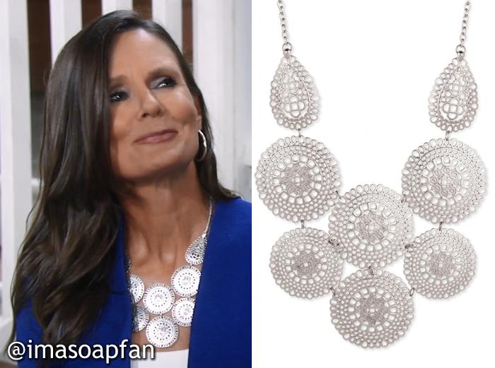 Lucy Coe's Silver Medallion Bib Necklace - General Hospital, Season 54, Episode 08/03/16