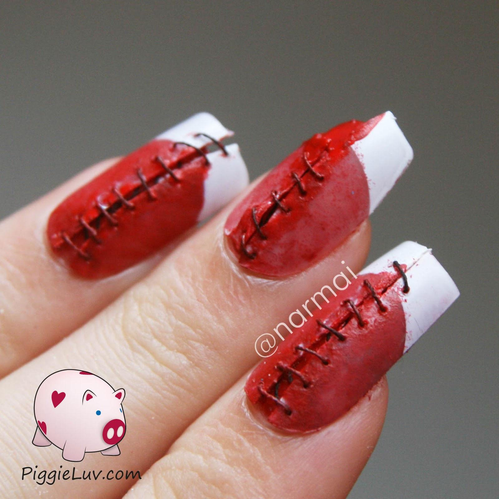 PiggieLuv: Bloody stitches nail art for Halloween