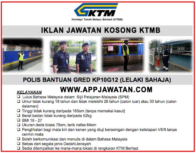 Iklan Jawatan sebagai Polis Bantuan Keretapi Tanah Melayu Berhad (KTMB)