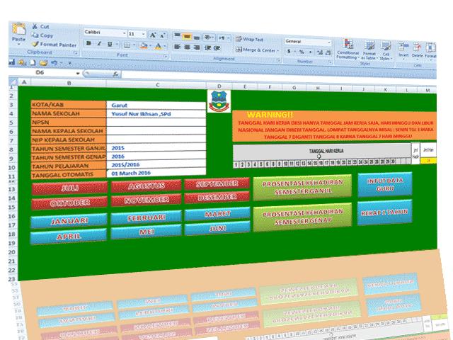 Aplikasi Daftar Hadir Guru Format Excel Plus Absensi Guru
