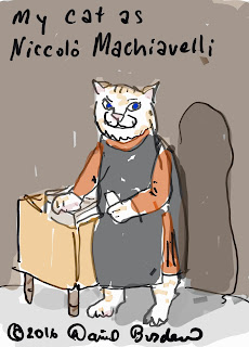 drawing of a white cat as Niccolo Machiavelli by David Borden, copyright 2016