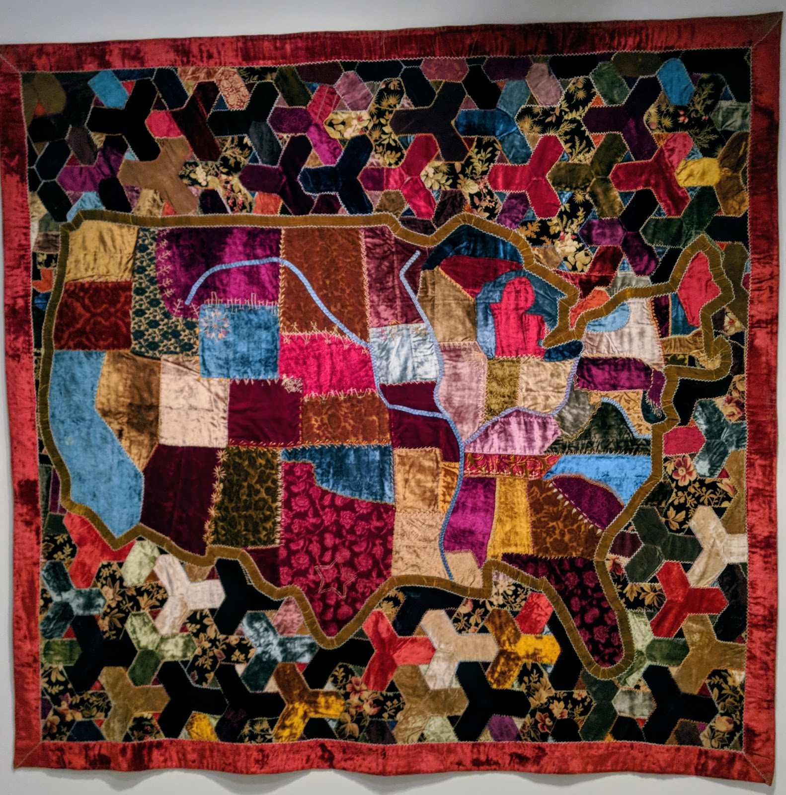 map quilt by anonymous 1886 possibly va silk and cotton velvets and brocade with embroidery
