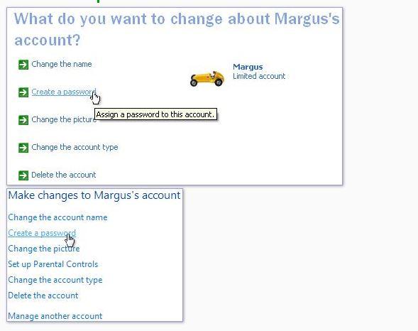 """Windows XP, Comptes d'utilisateurs, Que souhaitez-vous modifier à propos du compte. Cliquez sur """"Créer un mot de passe"""" pour protéger un compte par mot de passe."""