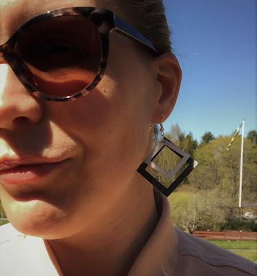 Silhouette Leatherette Sheets - örhängen, kvadrat