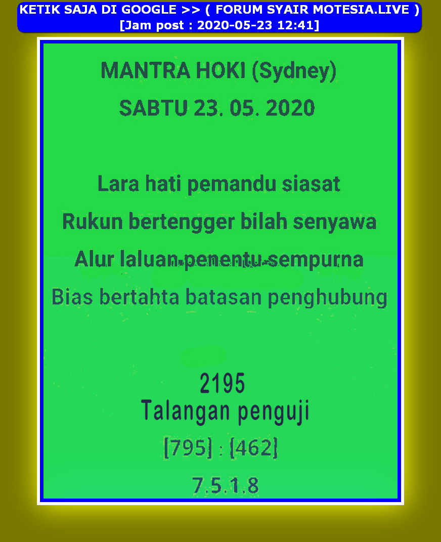 Kode syair Sydney Sabtu 23 Mei 2020 13