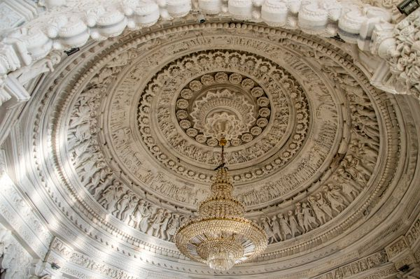 Ornately carved roof of the mandap